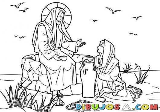 Dibujo para pintar a Jesus con la Mujer Samaritana | COLOREAR ...