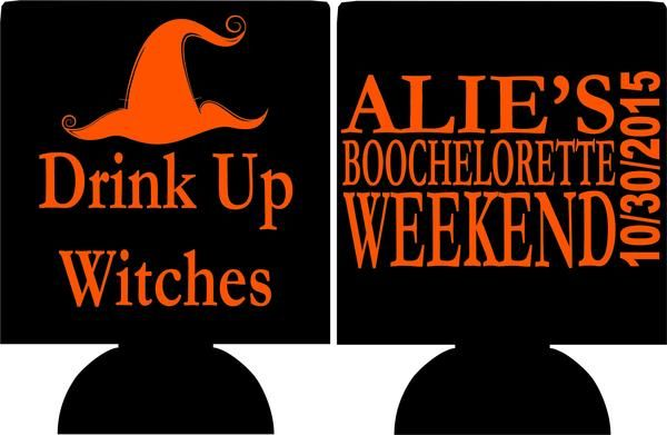 Drink Up Witches Bachelorette Koozie Can Coolers Bachelorette Koozies Bachelorette Koozies