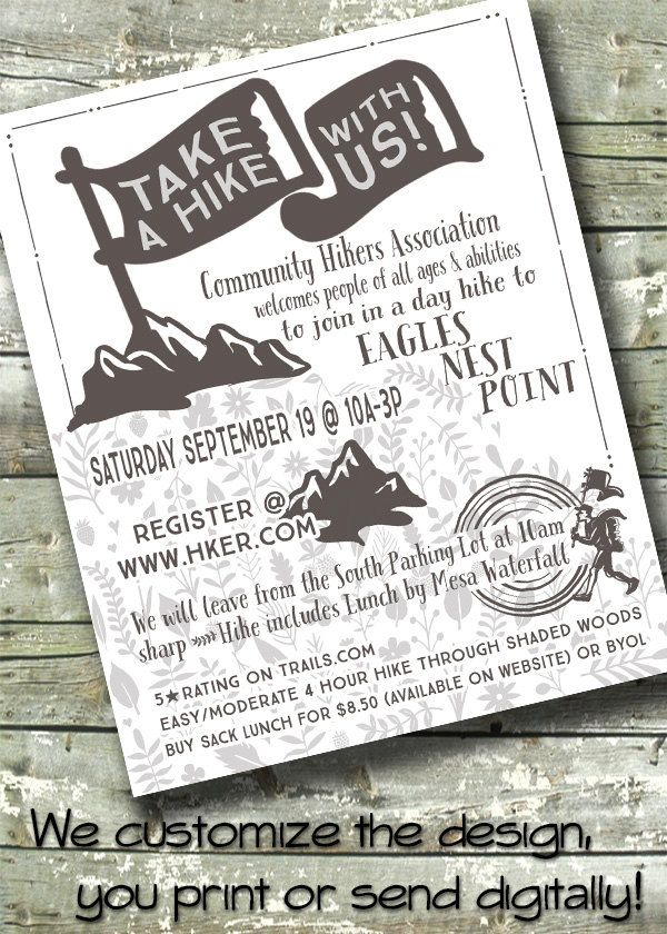 Hiking Flyer ~ Community Hiking Trip ~ Church or School Event - invitation flyer template