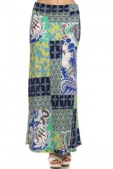 PLUS SIZE MULTI COLOR PRINTED MAXI SKIRT