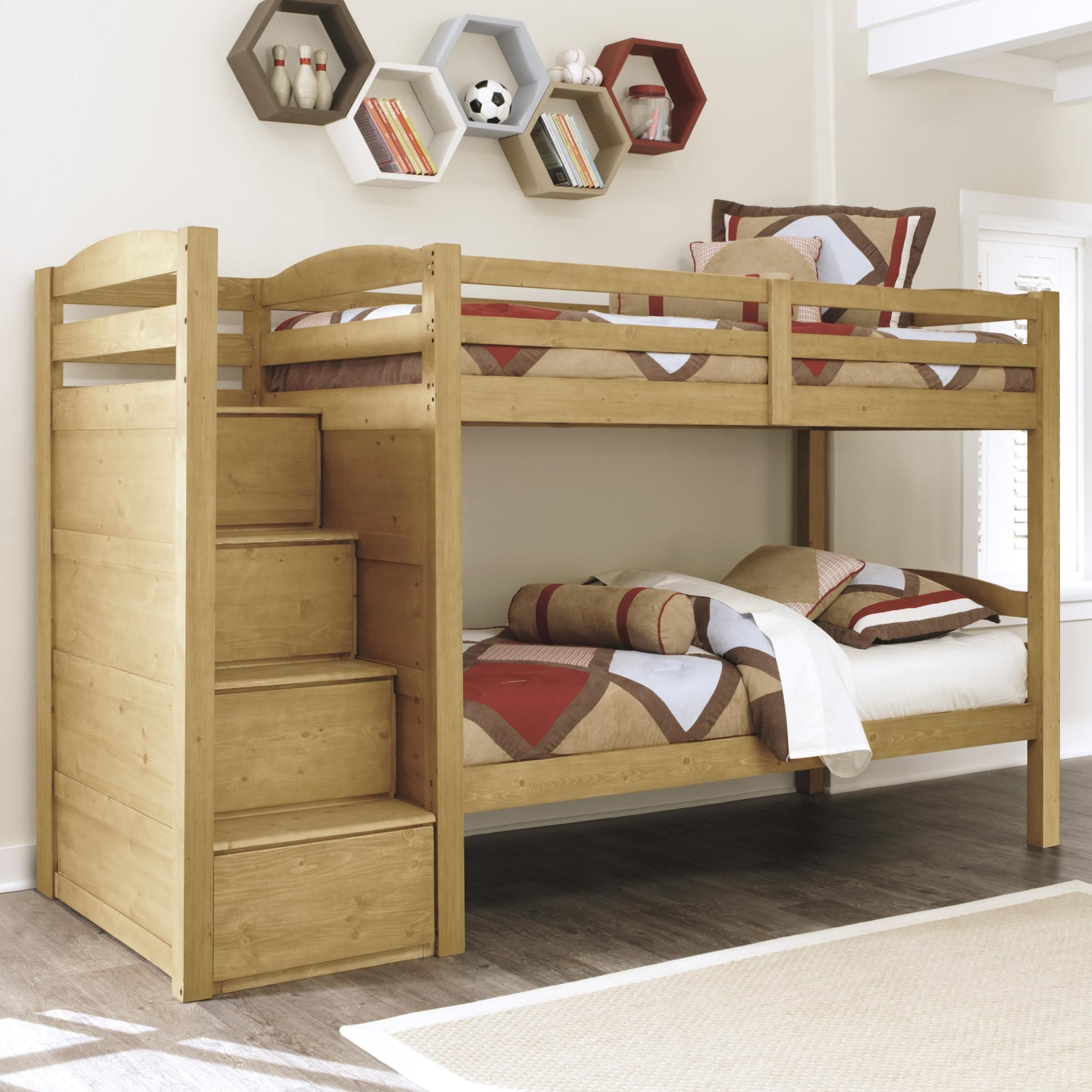 The Storage Stair Steps Can Be Assembled On The Right Or Left Side Of The Bunk Bed The Steps Incorporate Four Drawers With Images Kid Beds Bunk Beds With Stairs Bunk