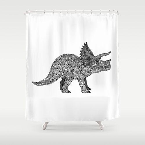 Triceratops Dinosaur Shower Curtain Kids Shower Curtain Shower