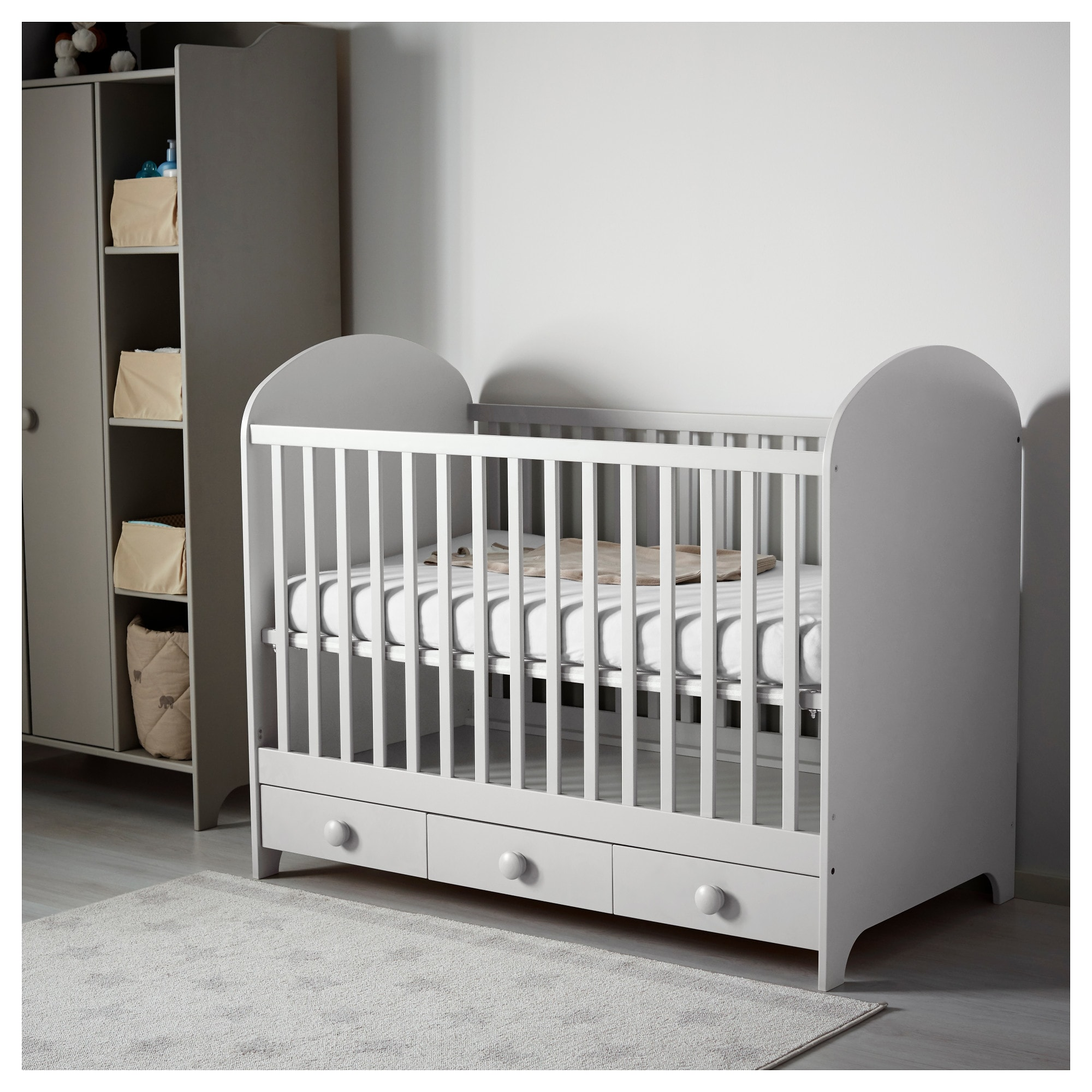 Gonatt Crib Light Gray 27 1 2x52 With Images Ikea Crib