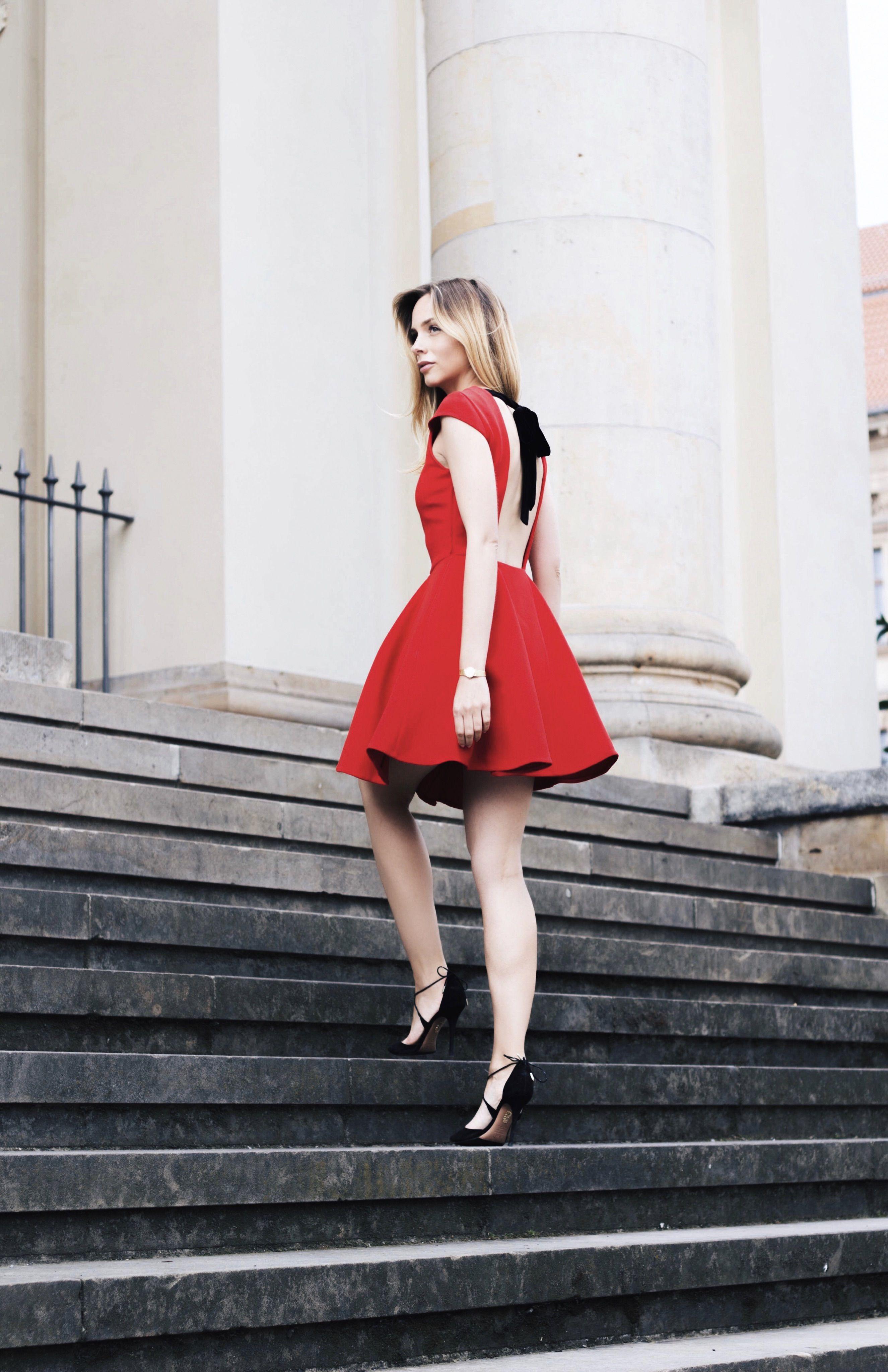 8072fb04dd3 OOTD - Miu Miu red a-line dress, Aquazzura pumps. www.louisa-maureen ...