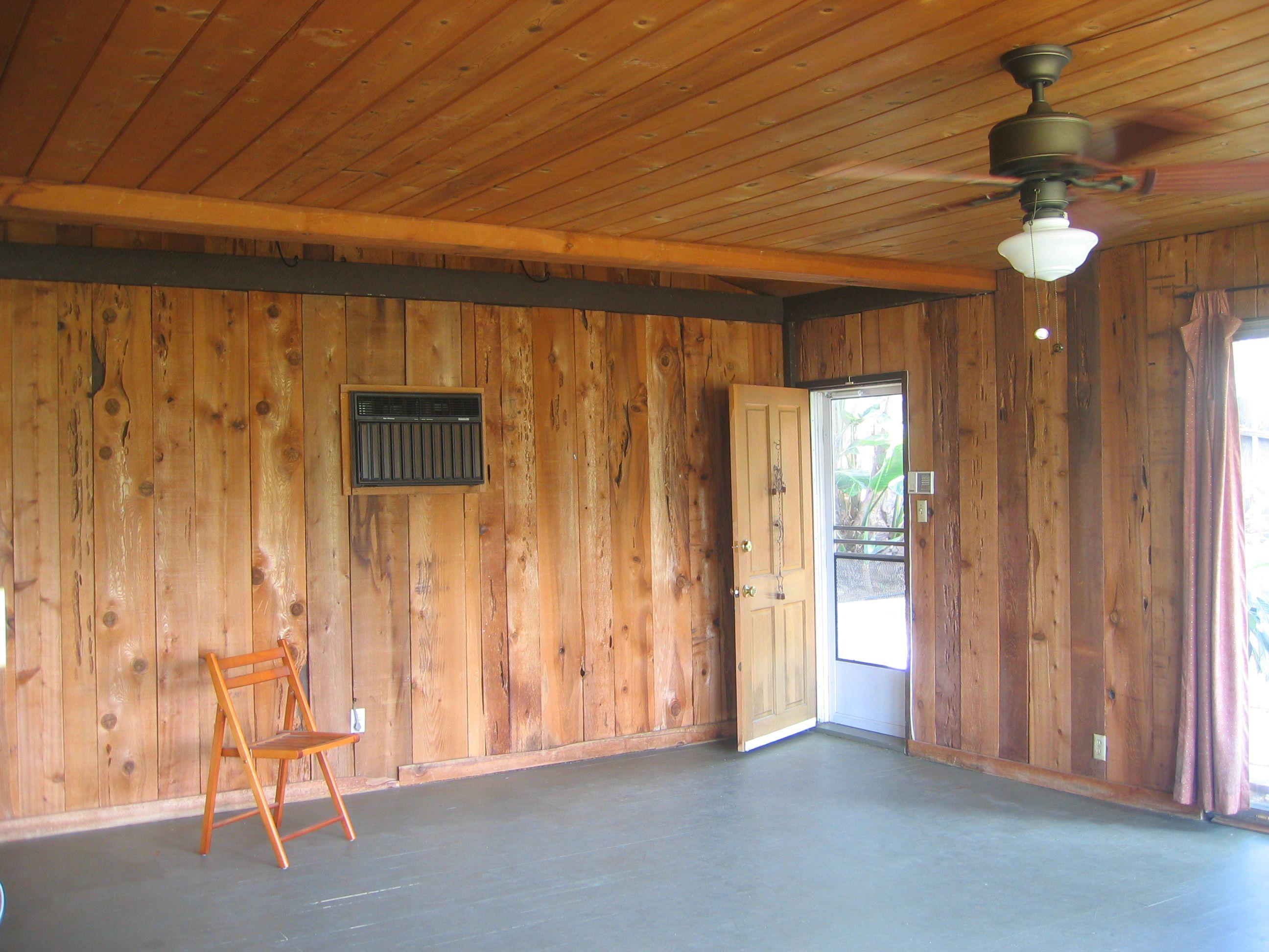 Mid Century Modern Original Pecky Cedar Paneled Walls