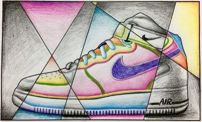 Contour Line Drawing Shoes Lesson Plan : Abstract shoe value drawing middle school art projects