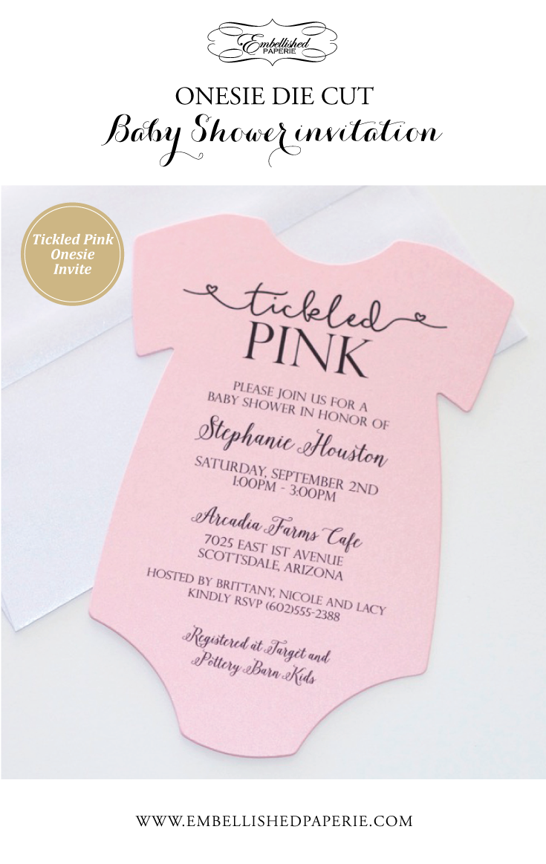 Baby Shower Onesie Invitation - Pink Shower Invitation - Baby Girl ...
