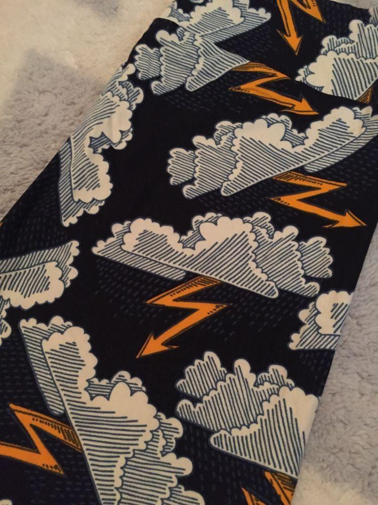 85f16cbb50db7a LuLaRoe TC Thunder Storm Cloud black leggings! NWT! Lightning bolts, rain! # LuLaRoe