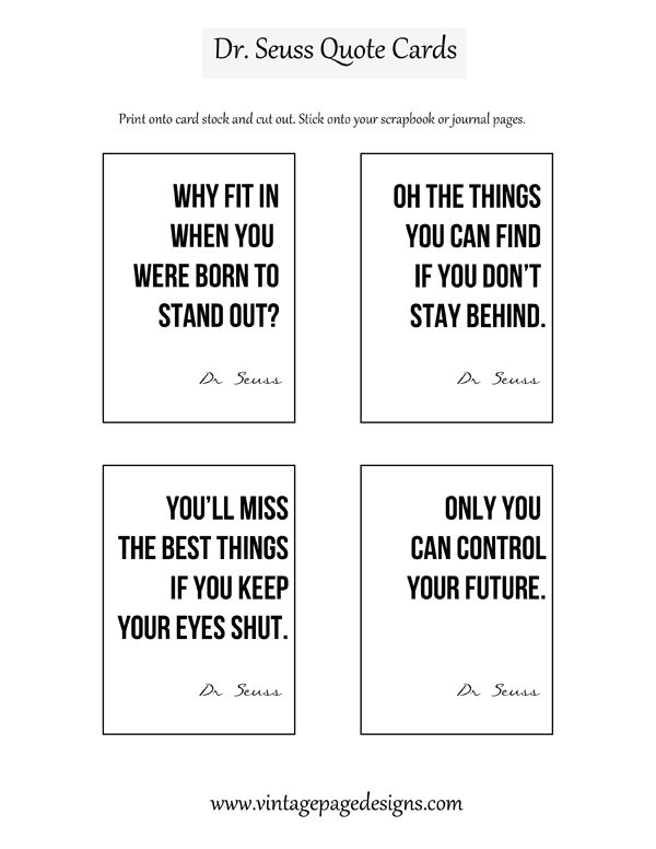 Free Dr Seuss Quote Cards - printables Quotes, Free printable