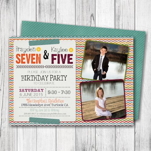 siblings birthday party invitation joint birthday party invitation