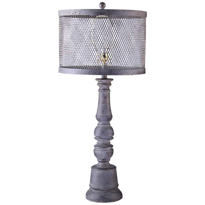 Belmont Gunmetal Table Lamp With Metal Wire Mesh Shade 24t90 Lamps Plus Lamp Table Lamp Grey Table Lamps