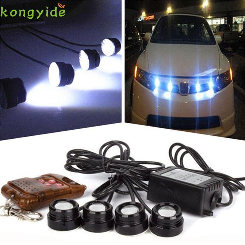 High Quality 4in1 12V LED Car Emergency Strobe Lights DRL Wireless