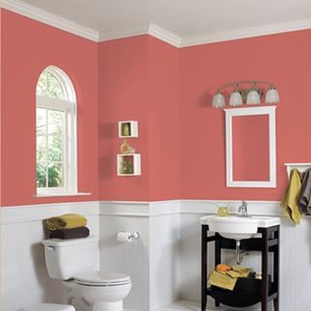 Awesome 30 Cozy Coral Color Ideas For Bathroom Coral Bathroom Decor Painting Bathroom Bathroom Colors