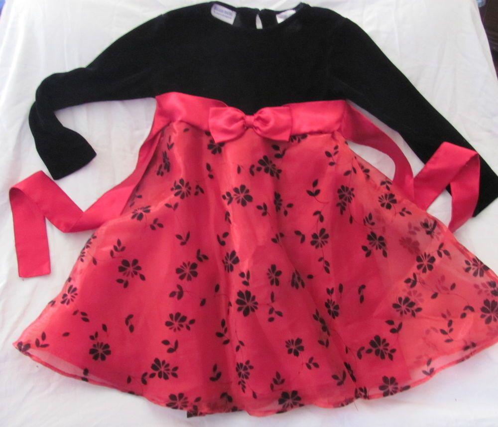 Blueberi Boulevard Black Red Velour Long Sleeve Floral Dress 4t Long Sleeve Floral Dress Girl Outfits 4t Dress [ 857 x 1000 Pixel ]