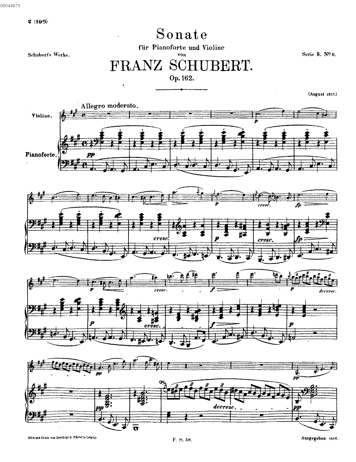 Violin Sonata, D 574 (Schubert, Franz) - IMSLP/Petrucci