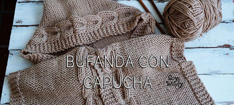 Teje una Bufanda con Capucha fácil en dos agujas | Bufanda con ...