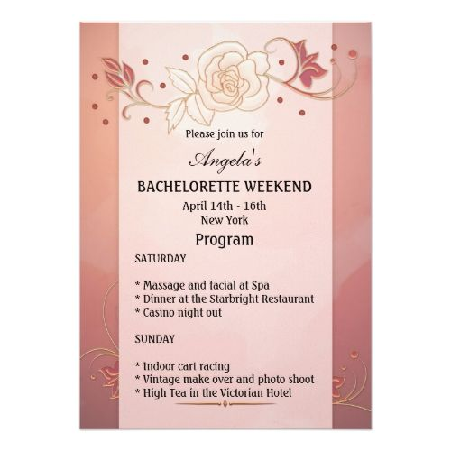 Bachelorette Weekend Program Template Invitation  HenS Party