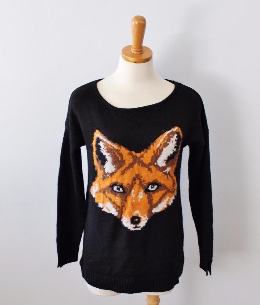8d88c14ab743 Fox Face Sweater Jumper Women Medium Love by Design black animal Critter  CS18 #LoveByDesign #Crewneck