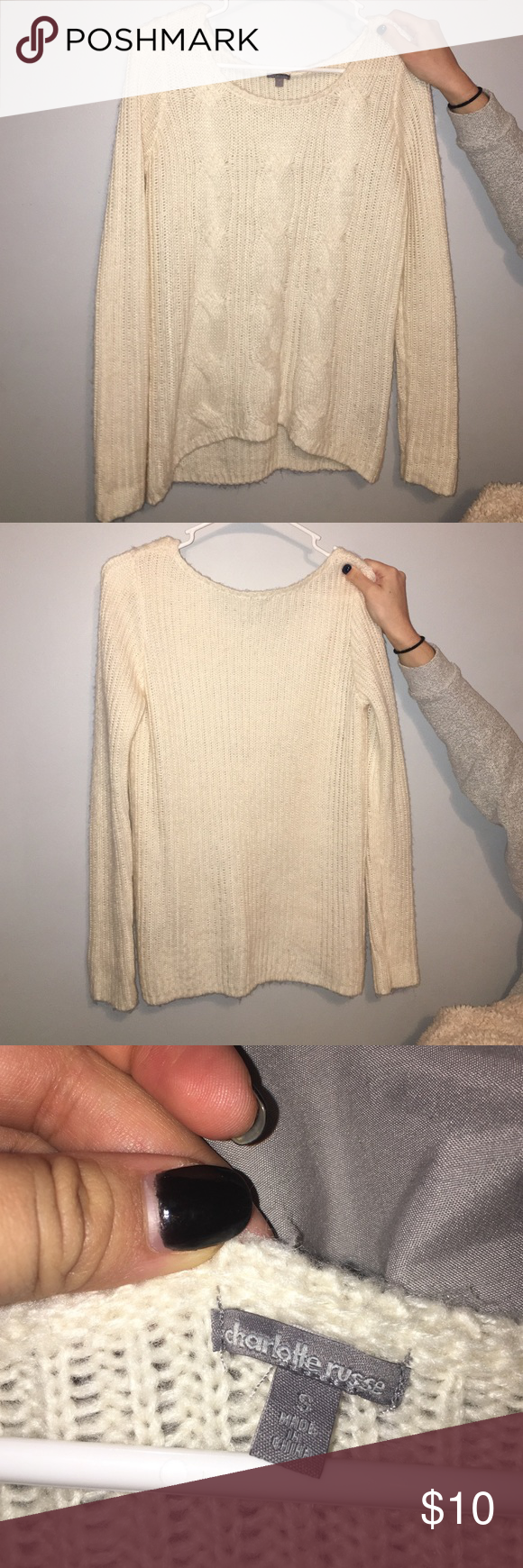 Cream cable knit sweater Worn only a few times ended up not fitting how I wanted! Charlotte Russe Sweaters Crew & Scoop Necks