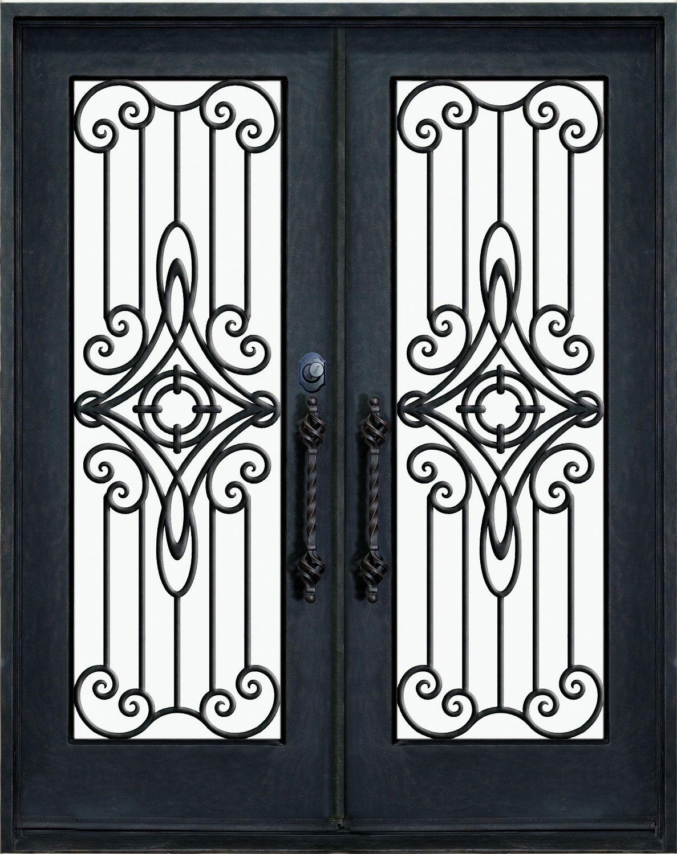 Porte d entr e en fer forg porte en fer porte en for Porte en fer pour garage