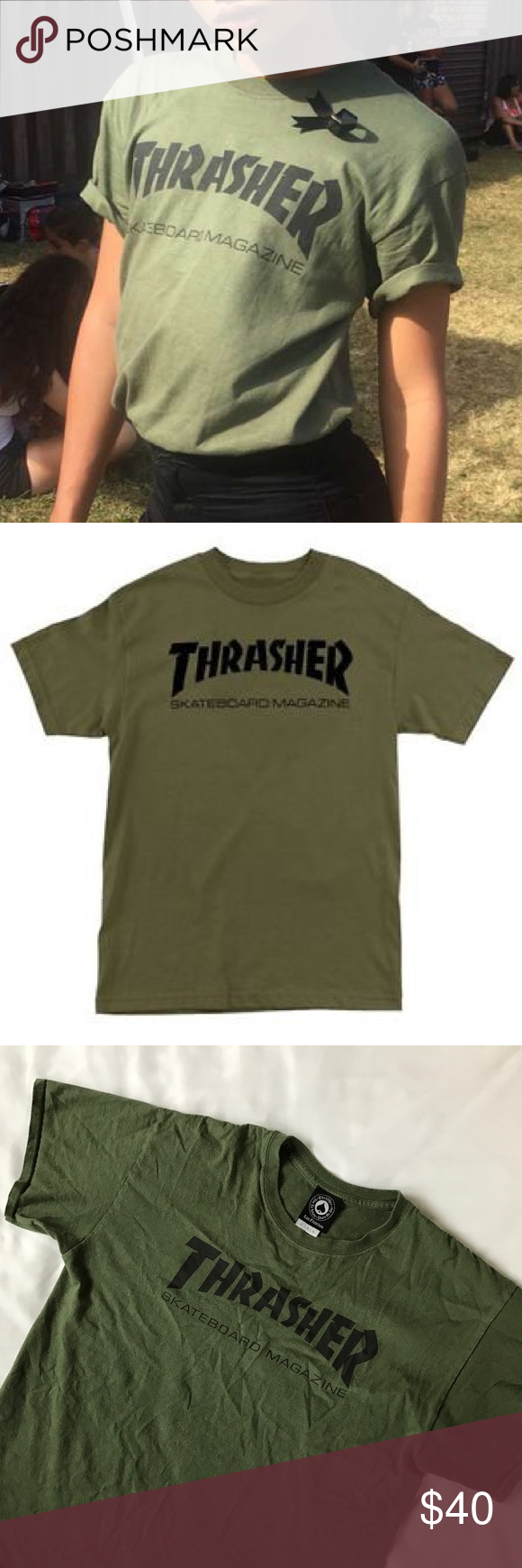 7186d9e47409 Thrasher Skate Mag Olive Green Shirt Authentic purchased from Slam City  Skate in London. Worn a few times so it's super soft ✨Available on Ⓜ  Thrasher ...