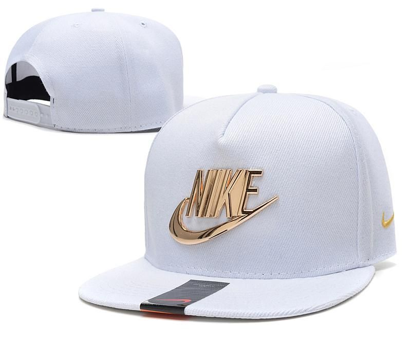 aa9dbd585fd Mens Nike The Classic Nike Iron Gold Metal Logo A-Frame USA 2016 Best  Quality Fashion Leisure Snapback Cap - White