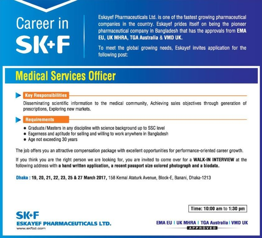 Medical Services Officer Eskayef Pharmaceuticals Ltd Job