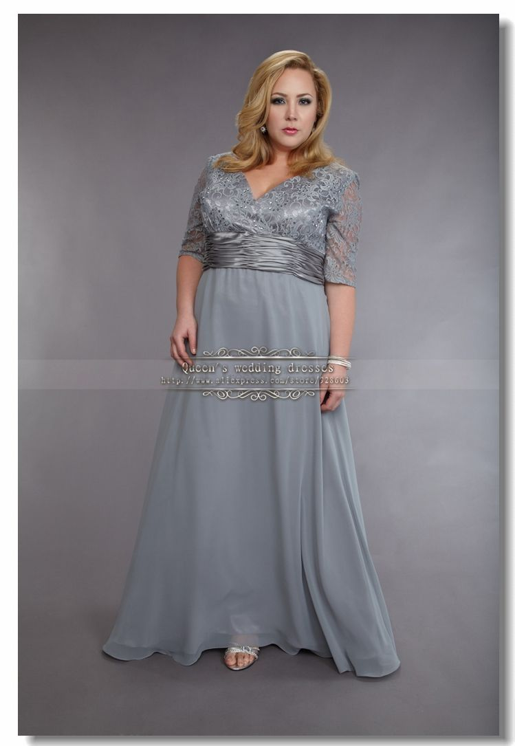 Plus size silver gray chiffon mother of the bride dresses for Mothers dresses for wedding plus size