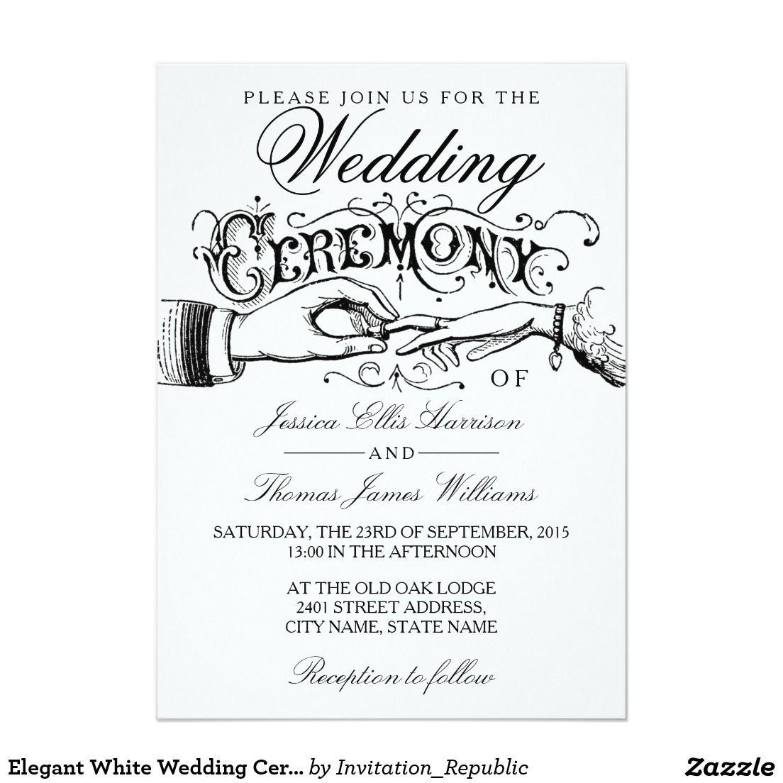 Elegant White Wedding Ceremony Invitations | TYPOGRAPHY WEDDING ...