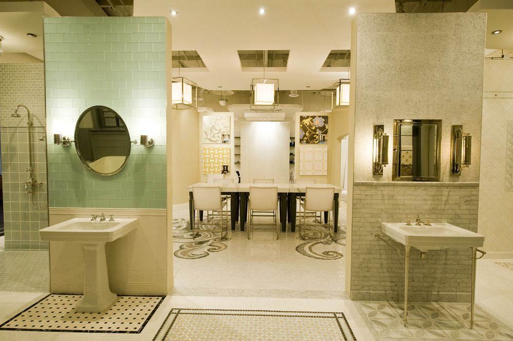 Reve Surfaces Showroom Designed By Linn Gresham Caged Lanterns - Bathroom showroom dallas