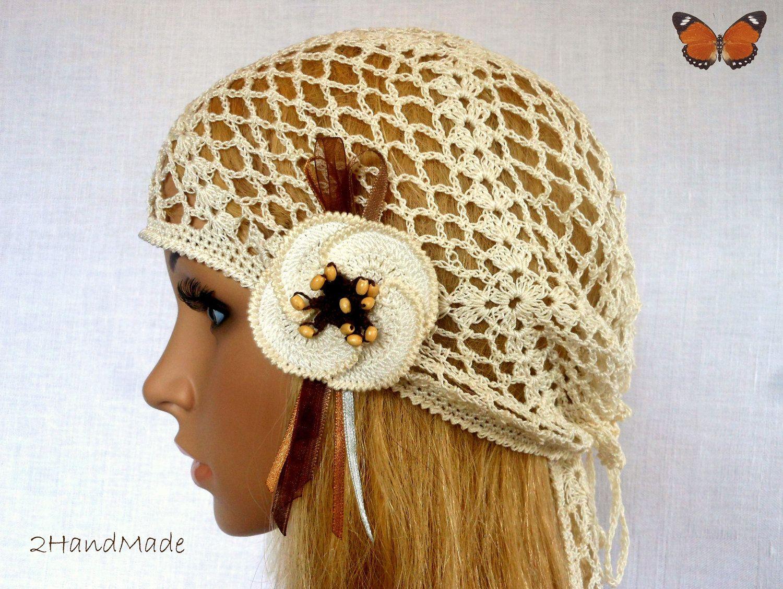 Woman Lace Crochet Vintage Beige Ivory Headband Dreadlock Hair Snood
