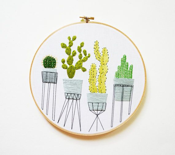 Large Hand Embroidered Cactus Hoop Art Cacti Etsy And Embroidery