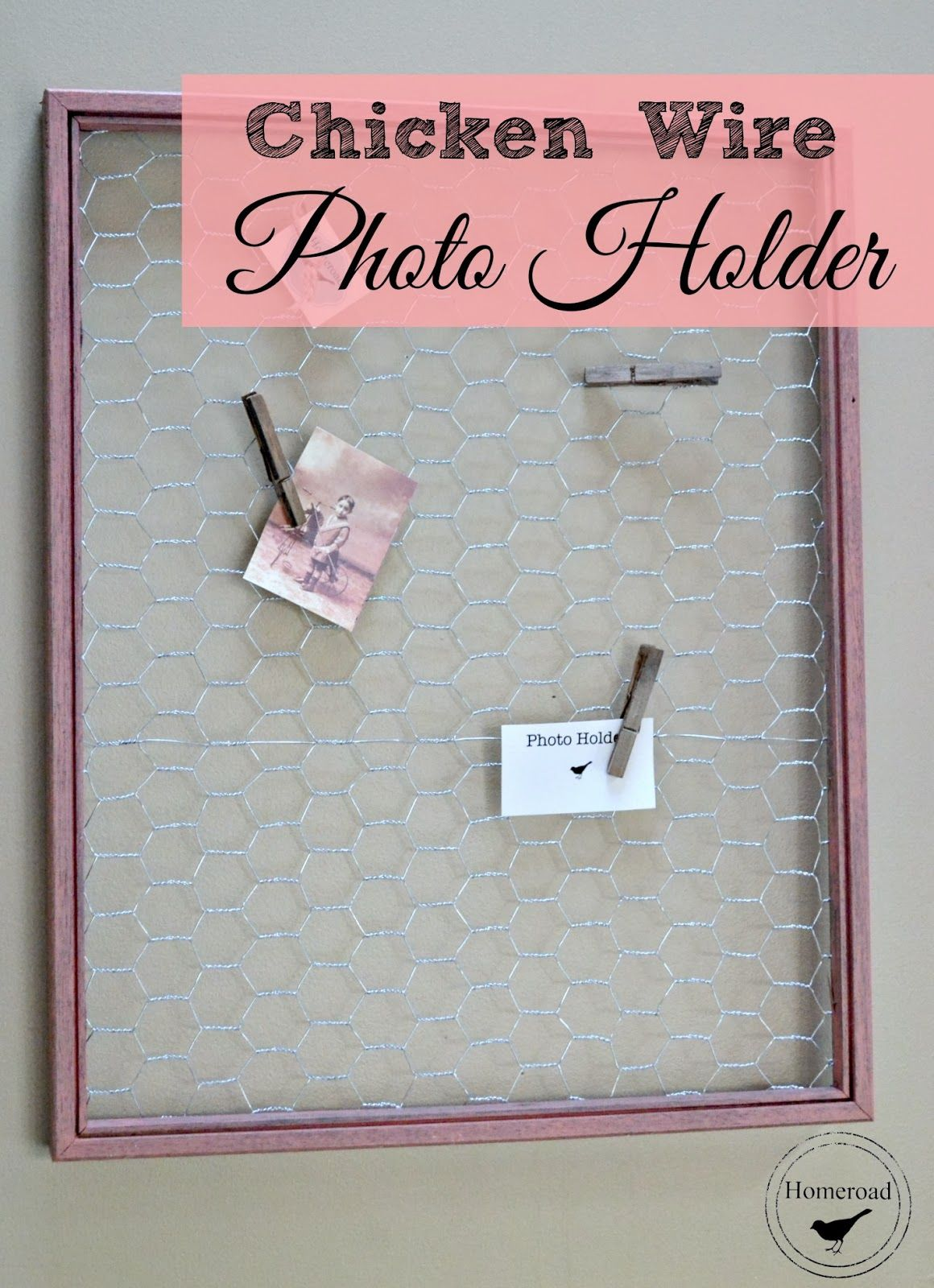 Homeroad chicken wire photo holder frames pinterest photo homeroad chicken wire photo holder jeuxipadfo Image collections