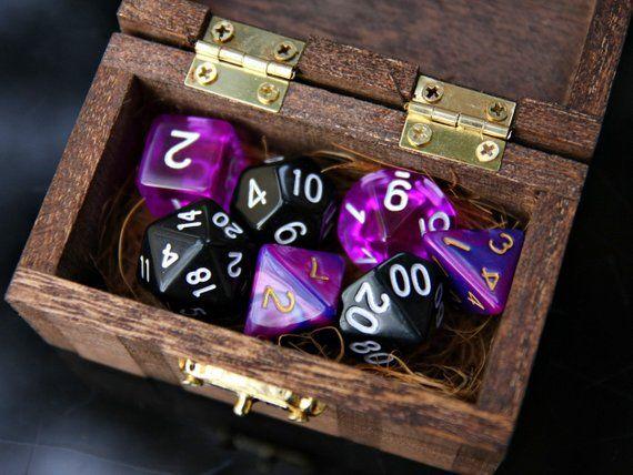 Dd Dice Set 7 Black Magic Purple Black Dnd Polyhedral Dice In