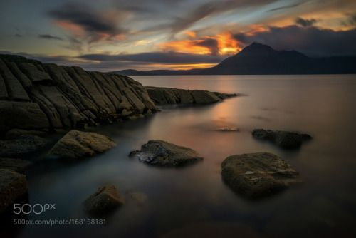 Loch Scavaig rocks by stroop  sunset mountains water beach clouds ocean rocks seascape scotland long exposure elgol isle of skye L