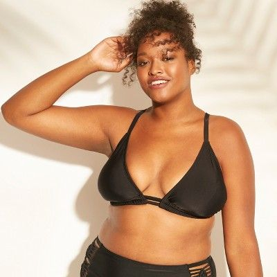 "06d24c6581802 Women's Plus Size Macrame Back Triangle Bikini Top - Xhilarationâ""?20Black  14W #Macrame, #Triangle, #Women"