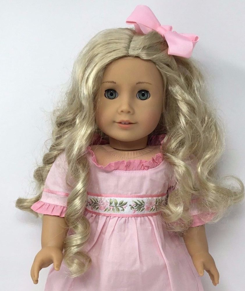 American Girl Doll Caroline Long Curly Blonde Hair Aqua Blue
