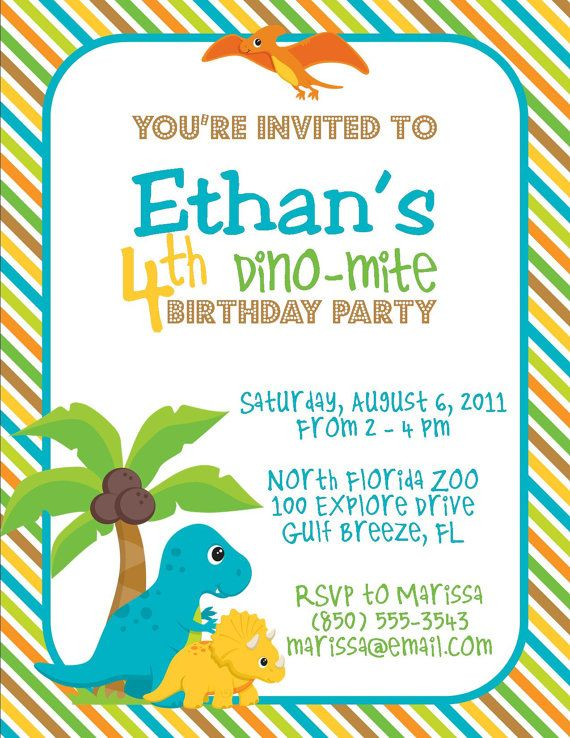 Dinosaur Birthday Party 5x7 Invitation Boy DIY By PartySoPerfect 800