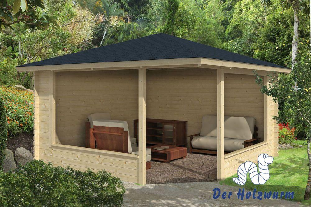 Gartenhaus Marit Blockhaus 400x400 Cm Holzhaus 45mm Pavillon Holz ... Gartenlaube Aus Holz Gartenpavillon