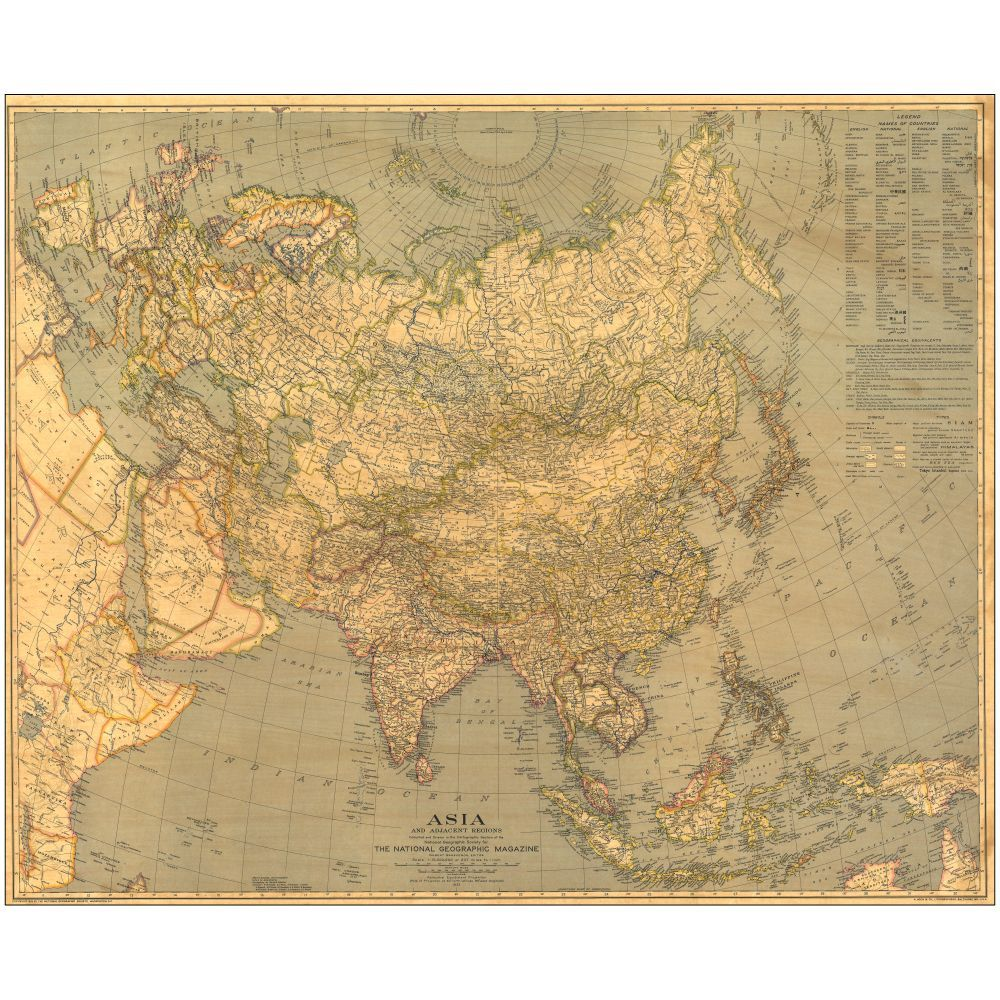 1933 Asia Map, Laminated | National Geographic Store | Here Be ...