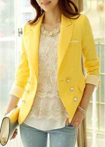 Long Sleeve Yellow Turndown Collar Blazers