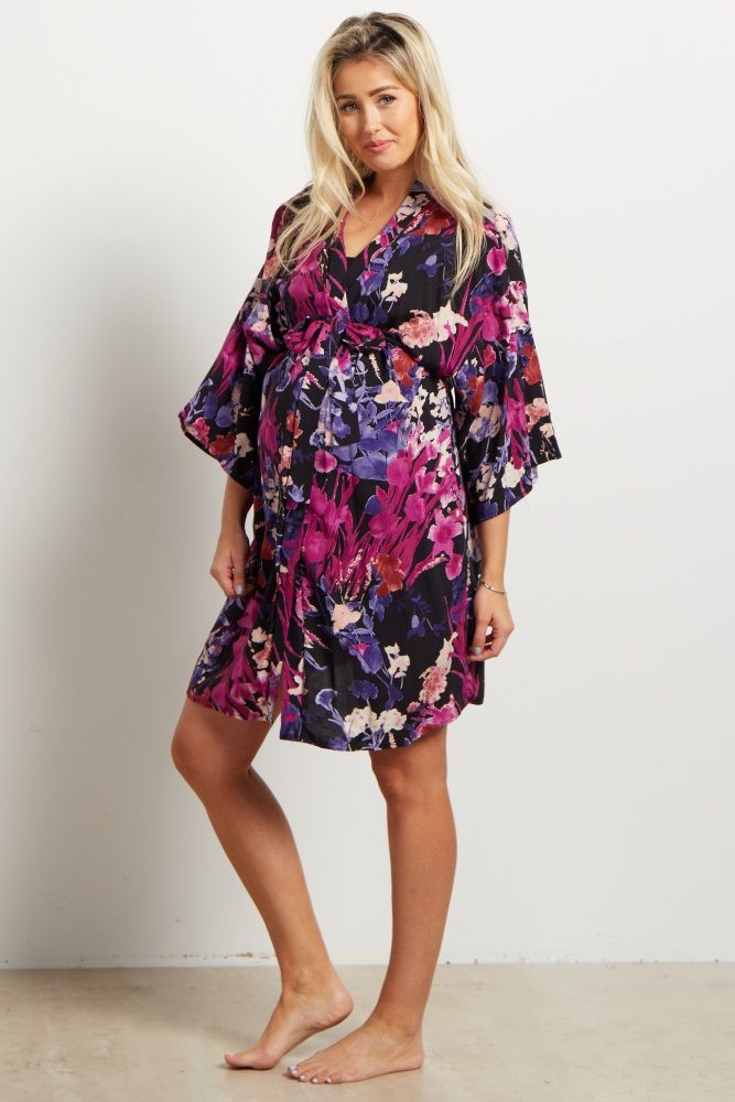 98ec115a1e0 Purple Tropical Floral Delivery Nursing Maternity Robe