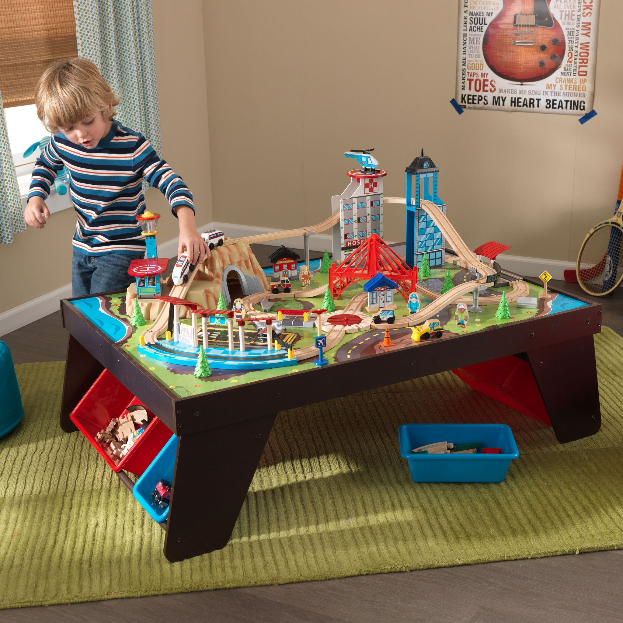 Train Set Table With Drawers Kidkraft Aero City Train Set And Table 17806 Plays Busy City