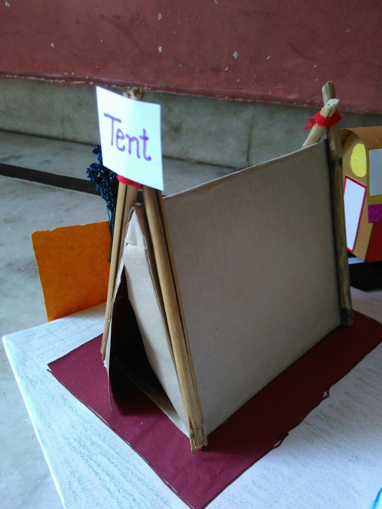 a tent with brown paper and card my own creation pinterest