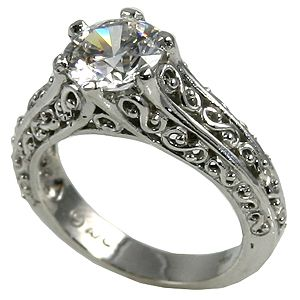 14k Gold Antique Filigree Peek A Boo Solitaire Cz Cubic Zirconia Ring Shipping T Antique Style Engagement Rings Filigree Wedding Ring Antique Wedding Rings