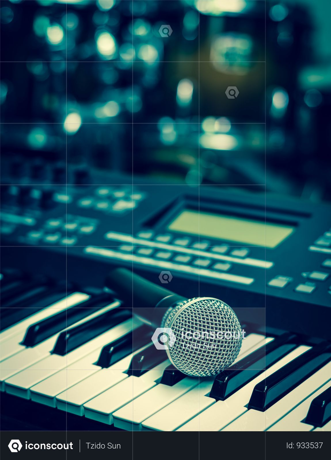 Premium Microphone On Music Keyboard With Music Brand Blurred Background Photo Download In Png Jpg Format Music Keyboard Blurred Background Microphone