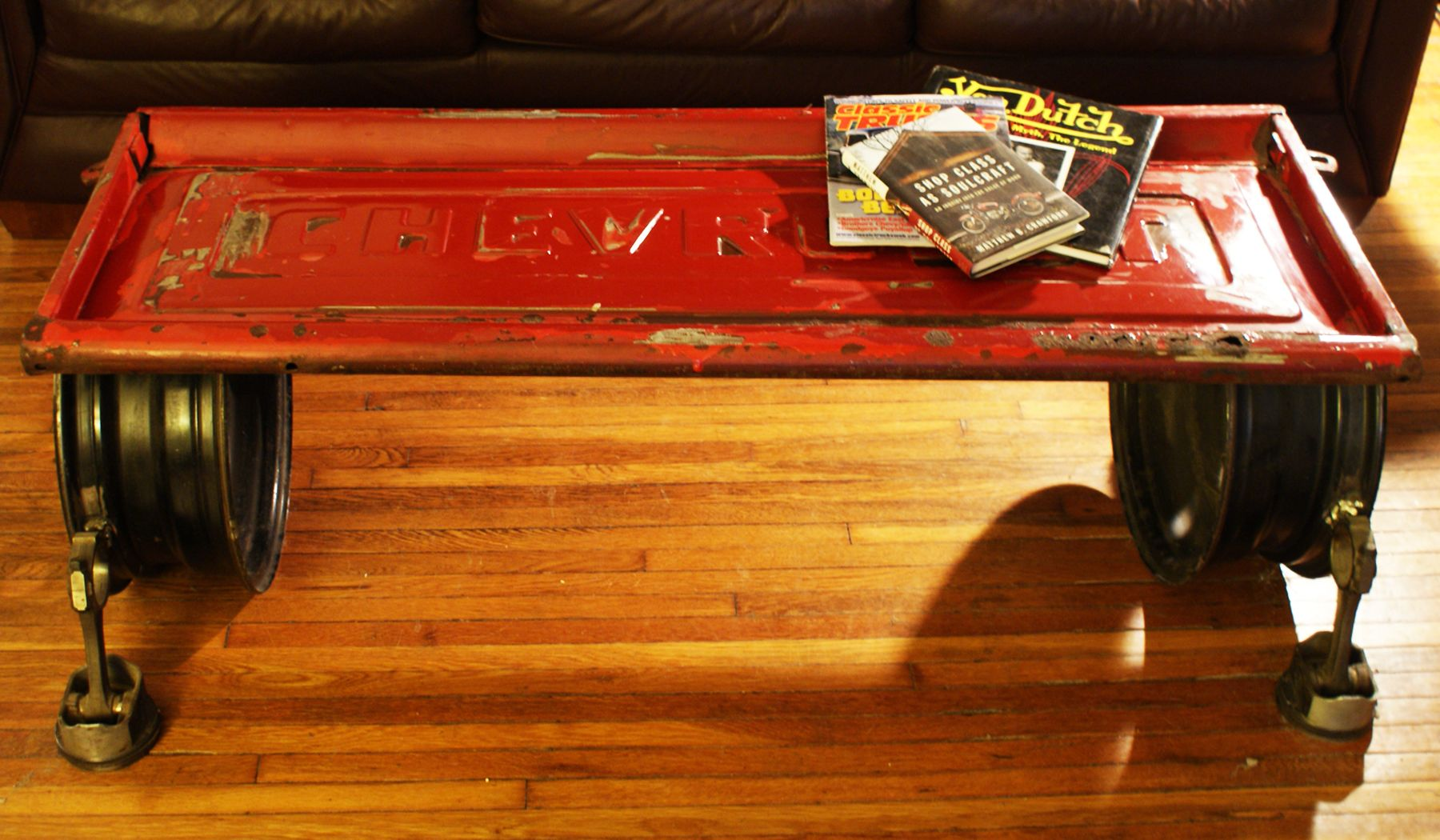 Red Chevy Coffee Table Bench tailgate steel wheels and