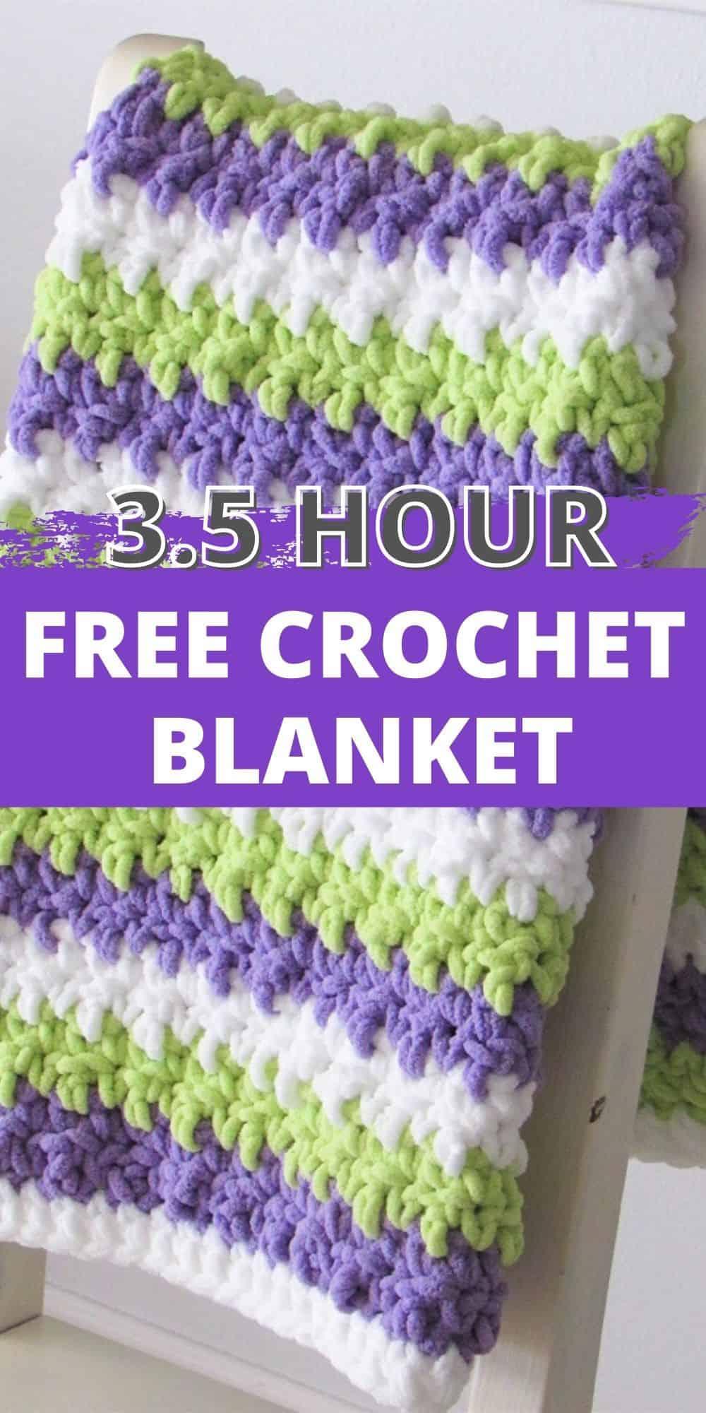 3.5 Hour Free Crochet Blanket Pattern