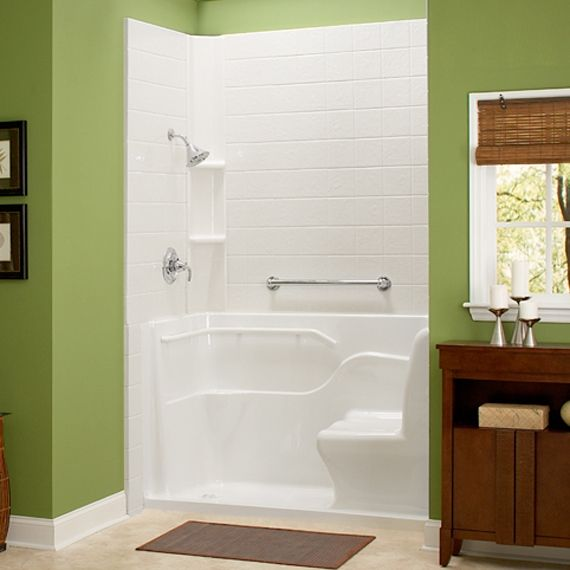 Shower with seat and grab bar small lip for entry for Bathroom designs elderly