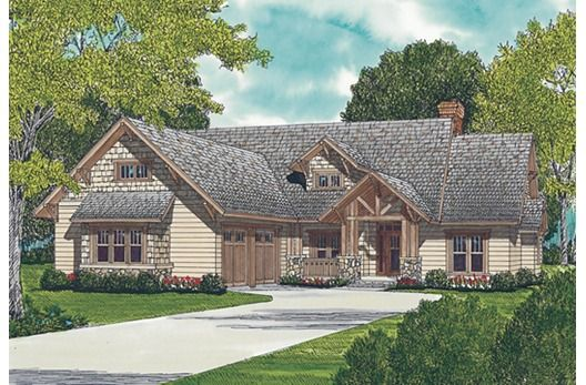 This craftsman 3 bedroom 1 story plan features a timber accents to give this home great curb appeal. Once inside, the foyer opens into a columned formal dining room to the left. A large master suite features walk-in closet, garden tub, and dual sinks.